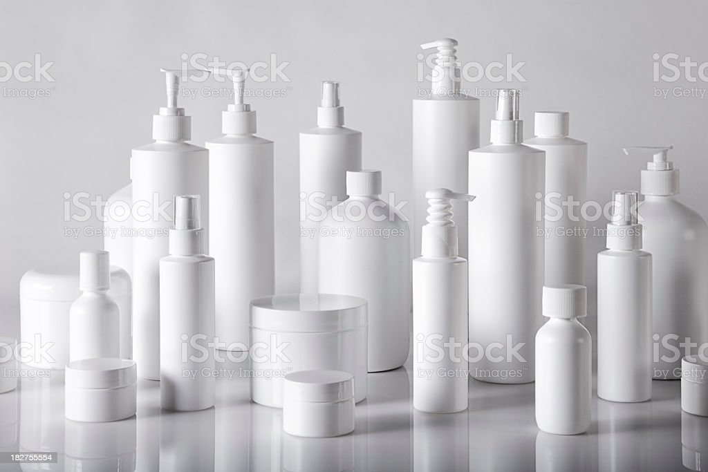 white plastic containers stock photo