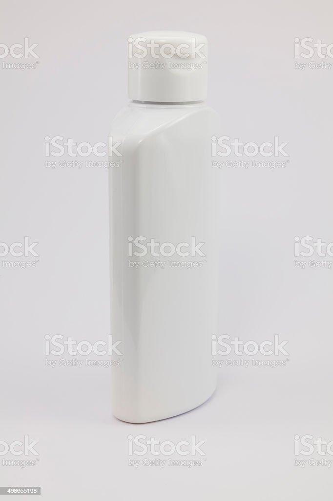 White plastic jar on a white background. stock photo