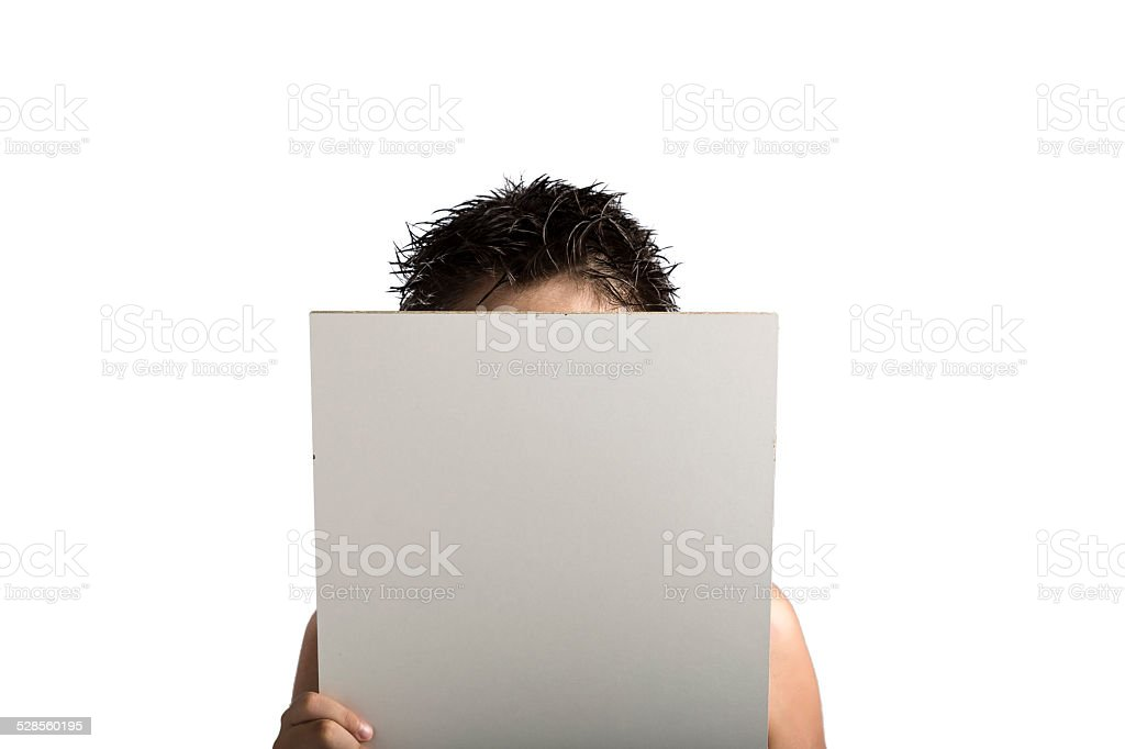 White Plastic laminate sign held up by hands stock photo