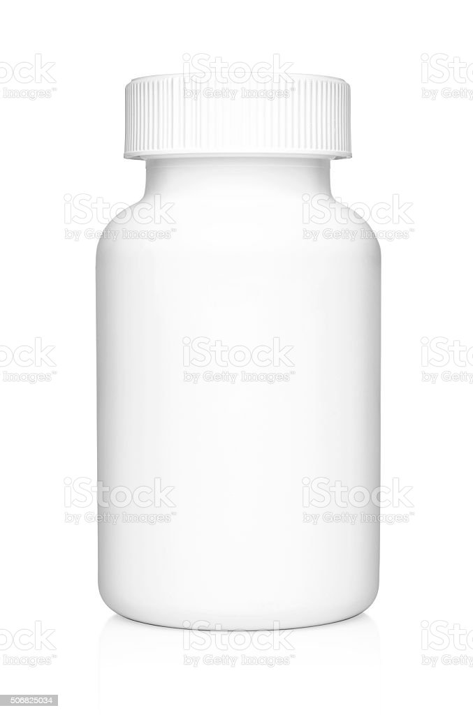 White plastic medical container for pills isolated stock photo