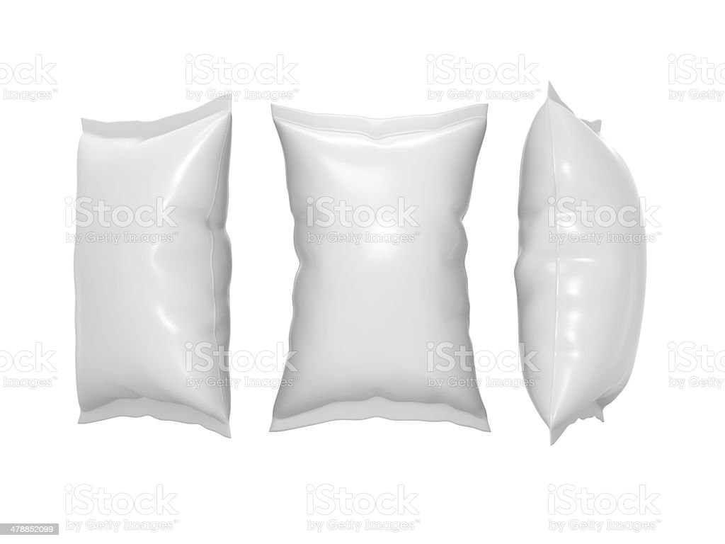 White plastic snack pouch with clipping path stock photo