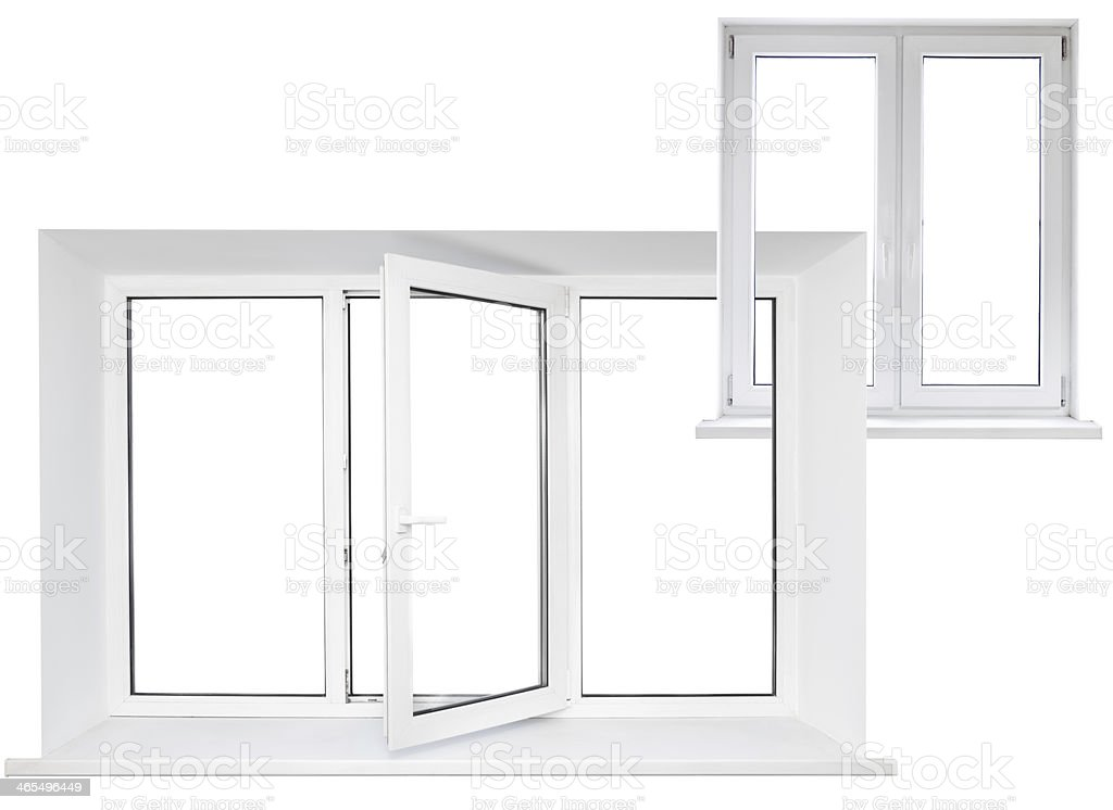 White plastic triple window with double door in chain royalty-free stock photo