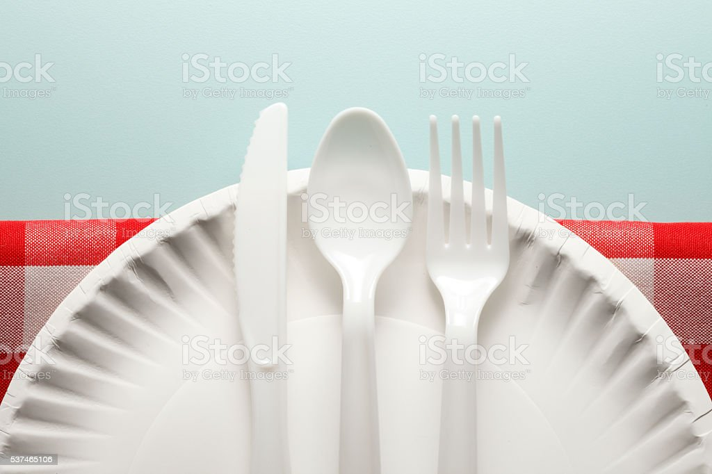 White Plastic Utensils On Paper Plate And Checkerboard Tablecloth stock photo