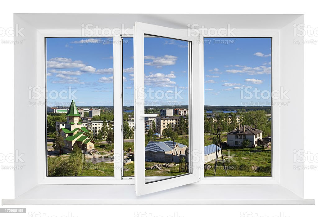 White plastic wide window with landscape in it royalty-free stock photo