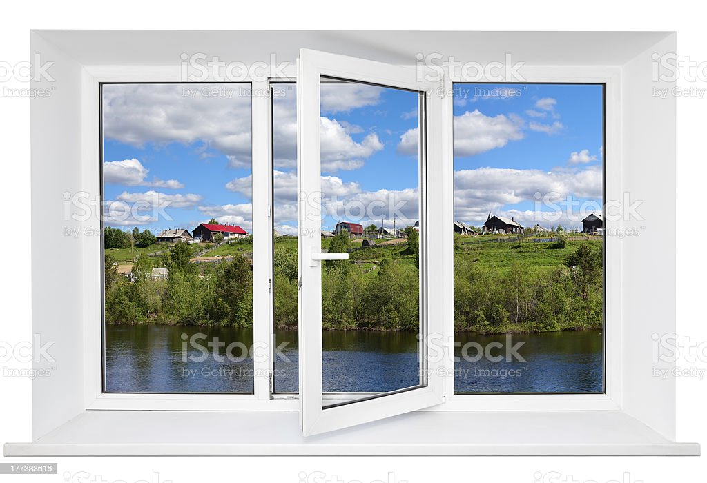 White plastic wide window with landscape in it stock photo