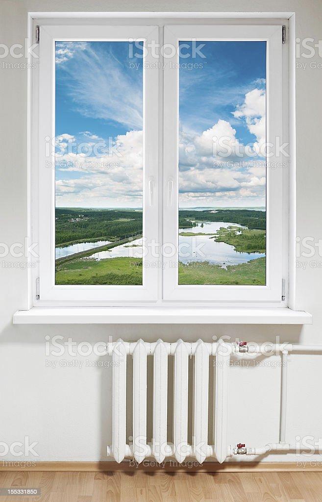 White plastic window in room stock photo
