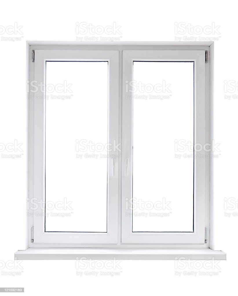 White plastic window stock photo