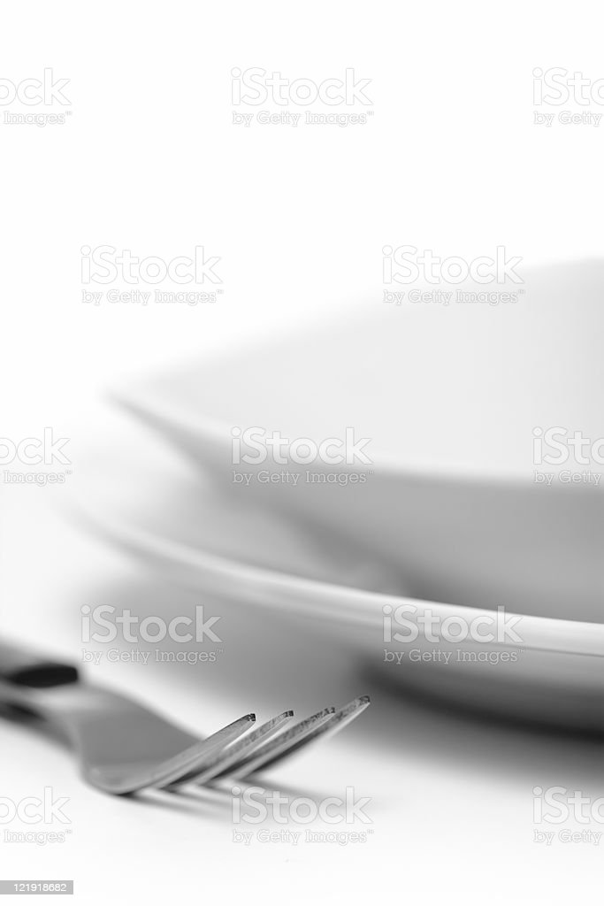 white plate and fork -series royalty-free stock photo