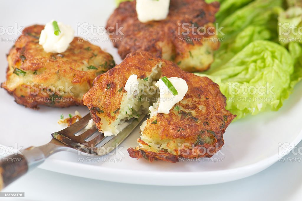 White Plate of Fish Fritters made with Salt Cod royalty-free stock photo