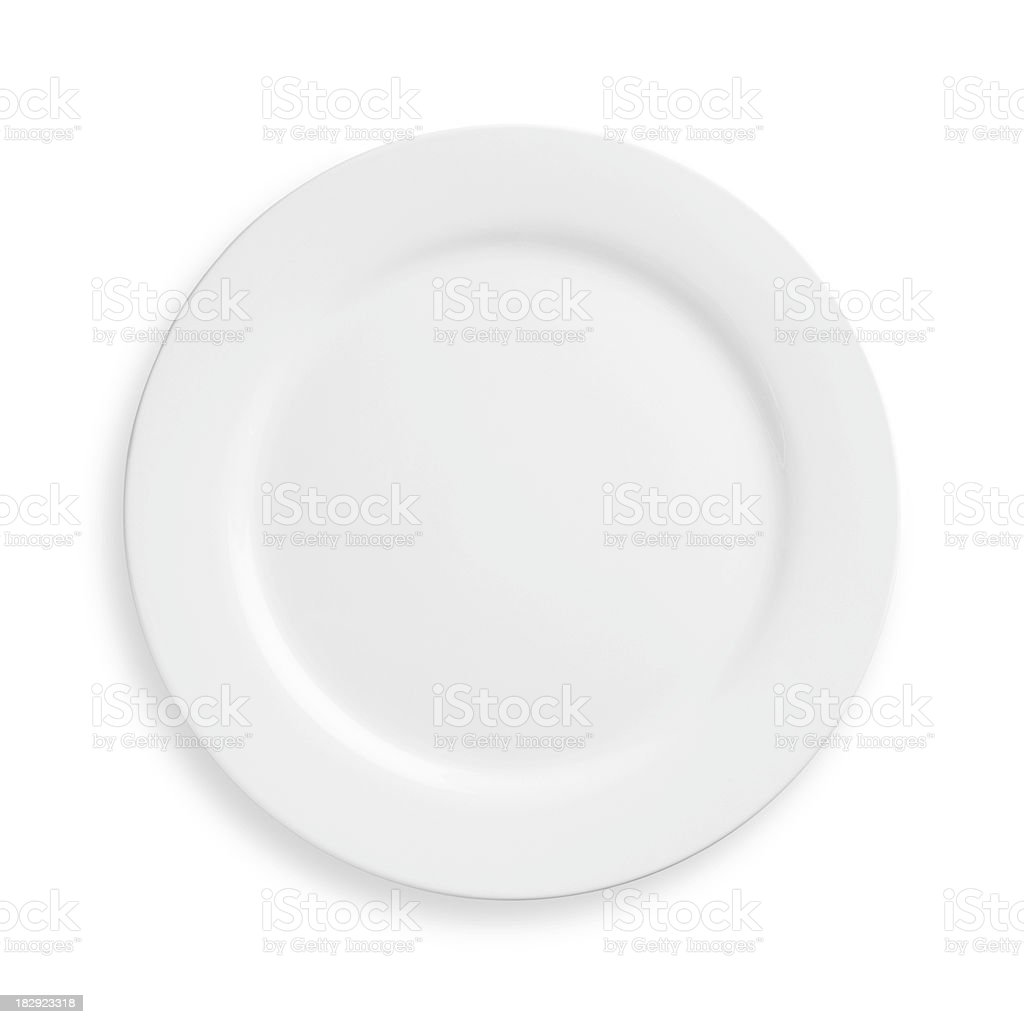 A white plate on a white background stock photo