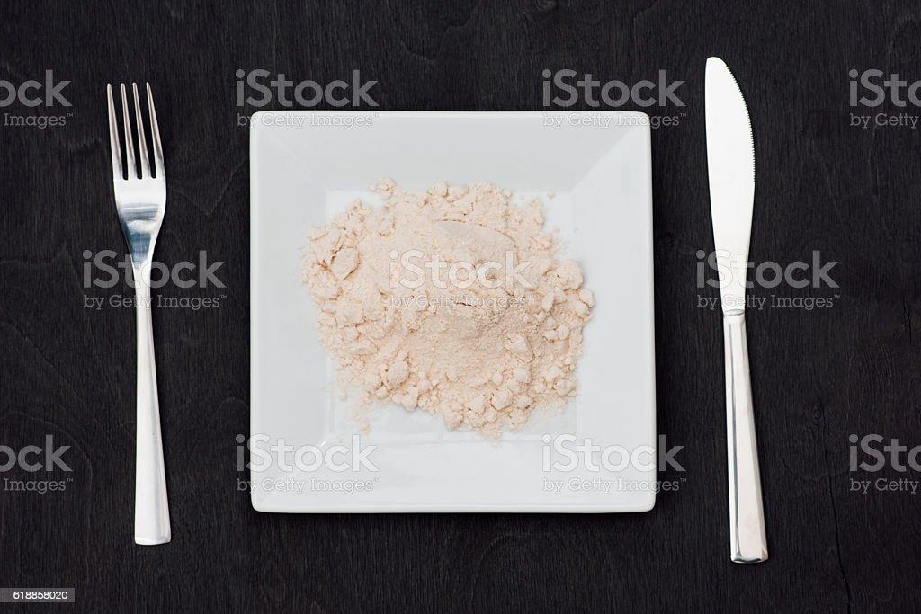 white plate on protein stock photo
