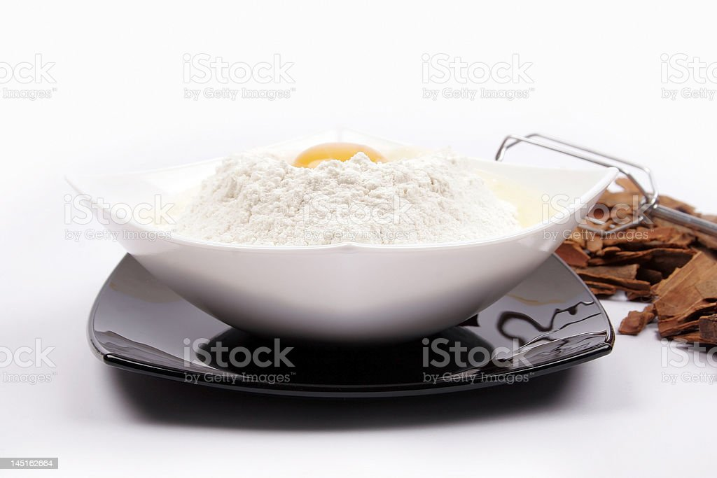 White plate with egg royalty-free stock photo