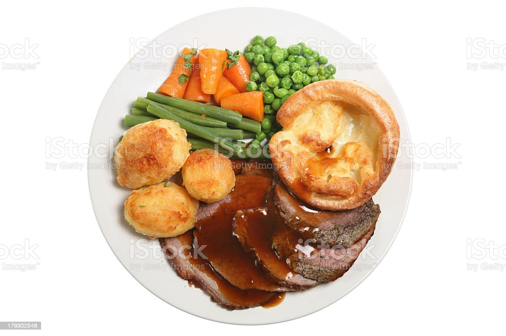 White plate with roast beef and vegetables stock photo