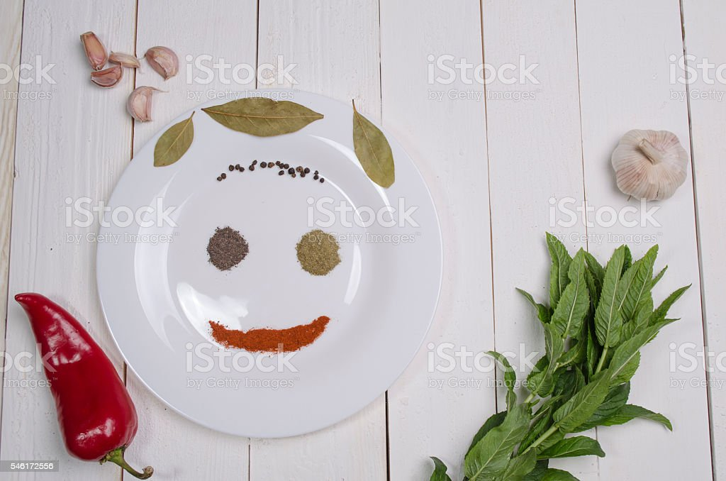 white plate with seasonings stock photo