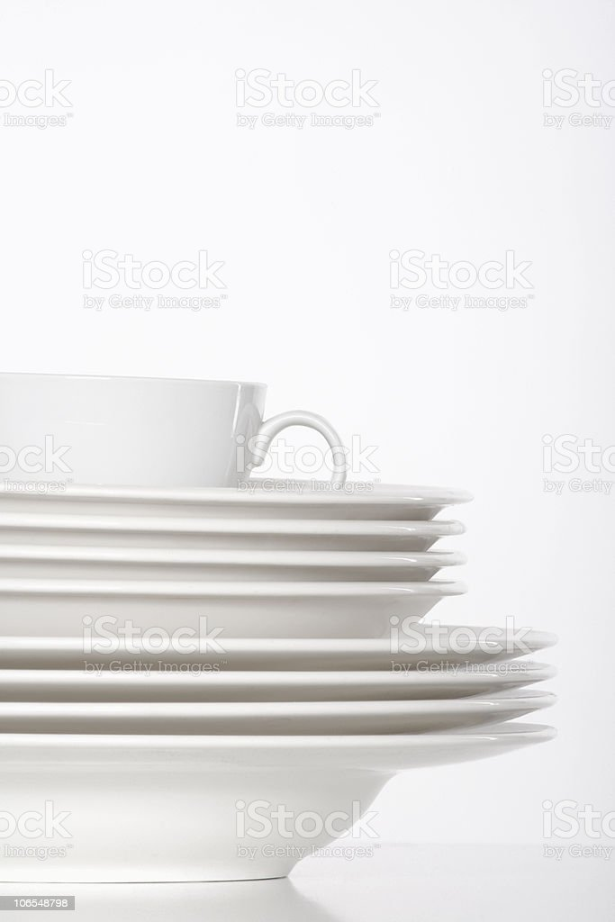white plates and cup stock photo