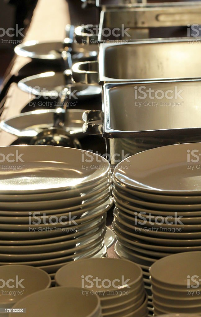 white plates stack and stainless tray set royalty-free stock photo