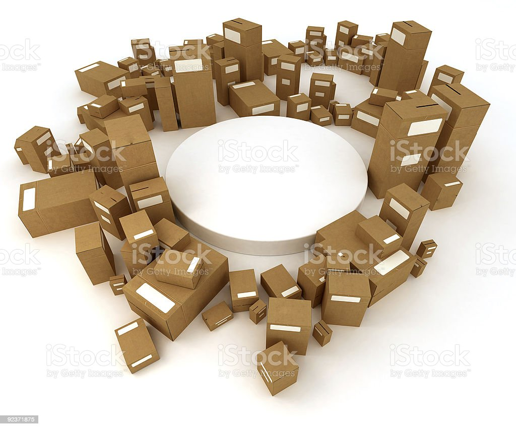 White platform surrounded by cartons royalty-free stock photo