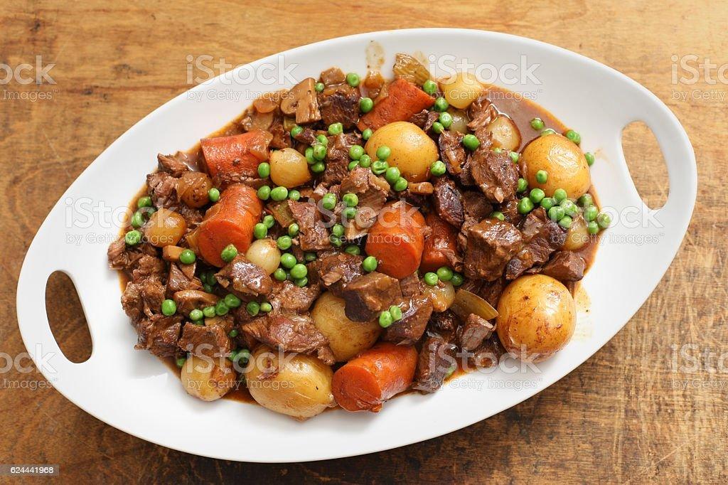 White Platter Full Of Beef Stew stock photo