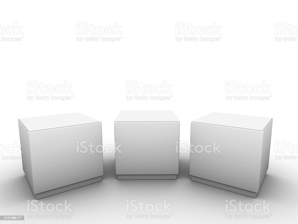 white plinths to place product stock photo