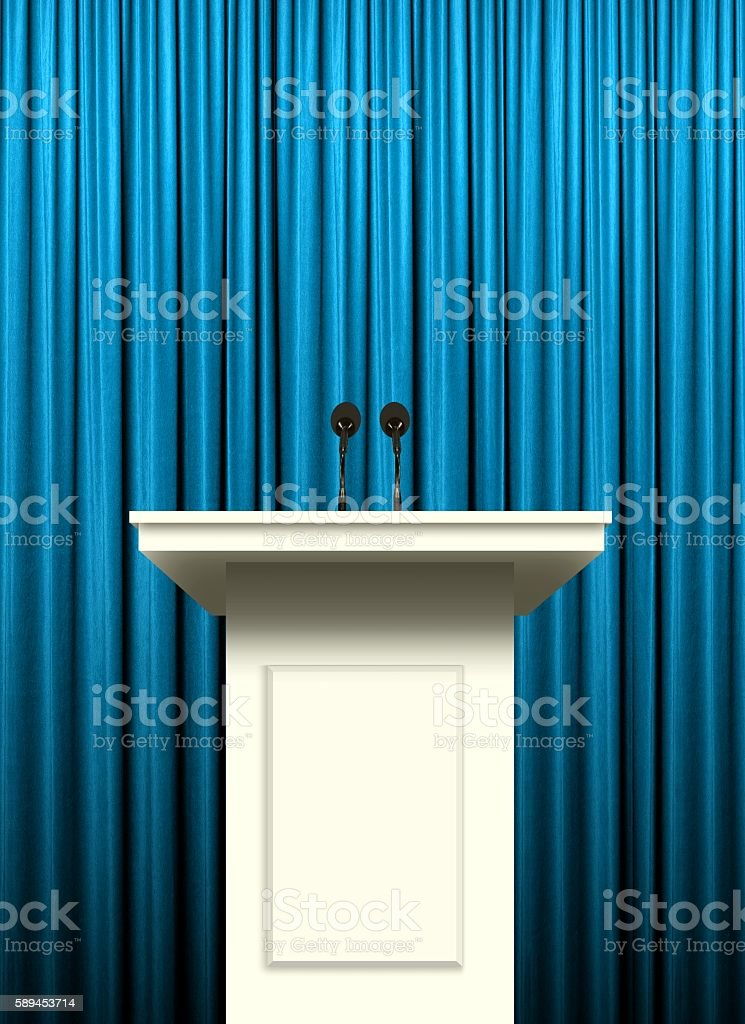 white podium over blue curtain background stock photo