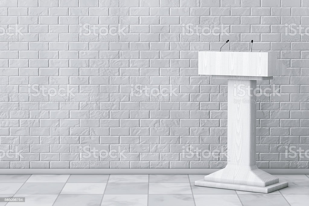 White Podium Tribune Rostrum Stand with Microphones. 3d Renderin stock photo