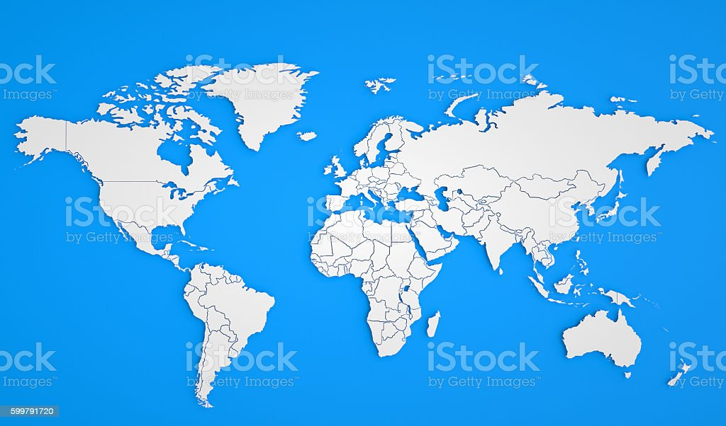 White Political World Map stock photo