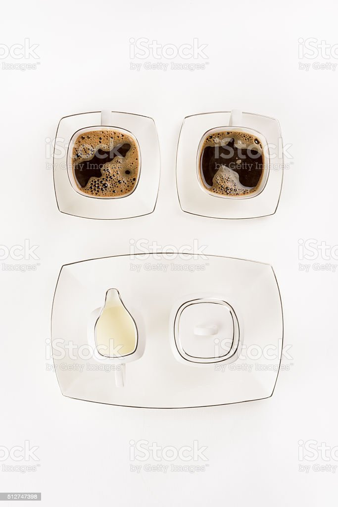 White porcelain coffee set from above stock photo