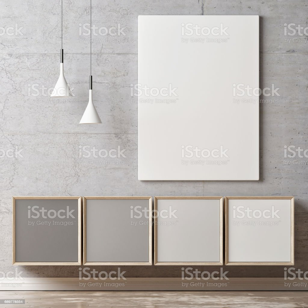 White poster, gray scale color chest of drawers stock photo