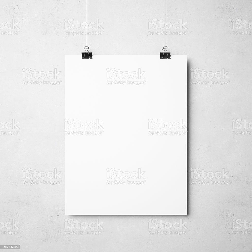 white poster on concrete background stock photo