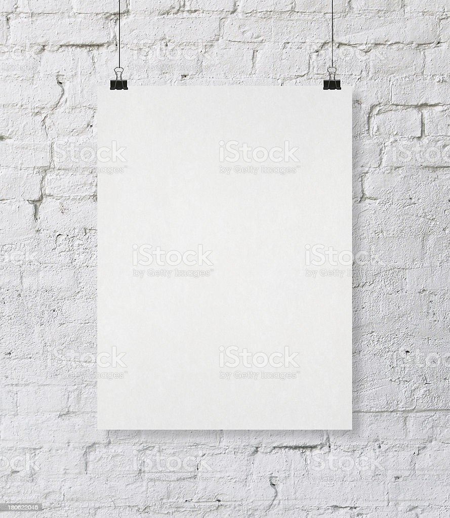 white poster stock photo