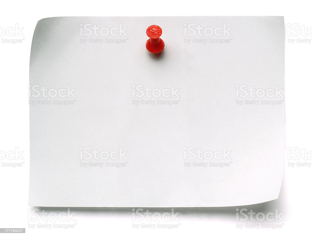 White Post-it Note with Push Pin stock photo
