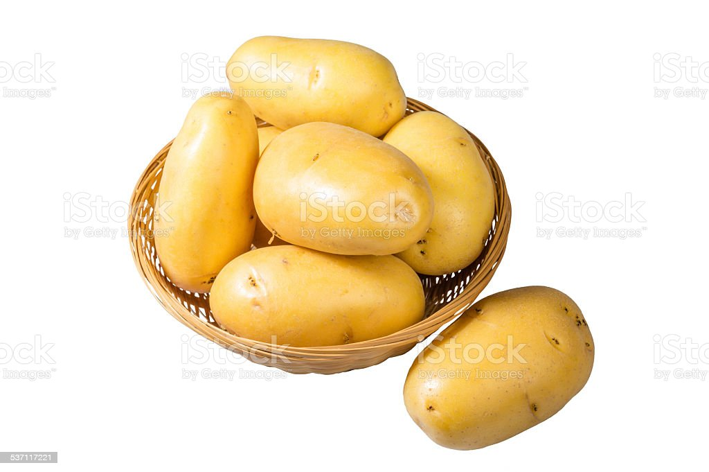 White potatoes fresh picked in bowl isolated stock photo