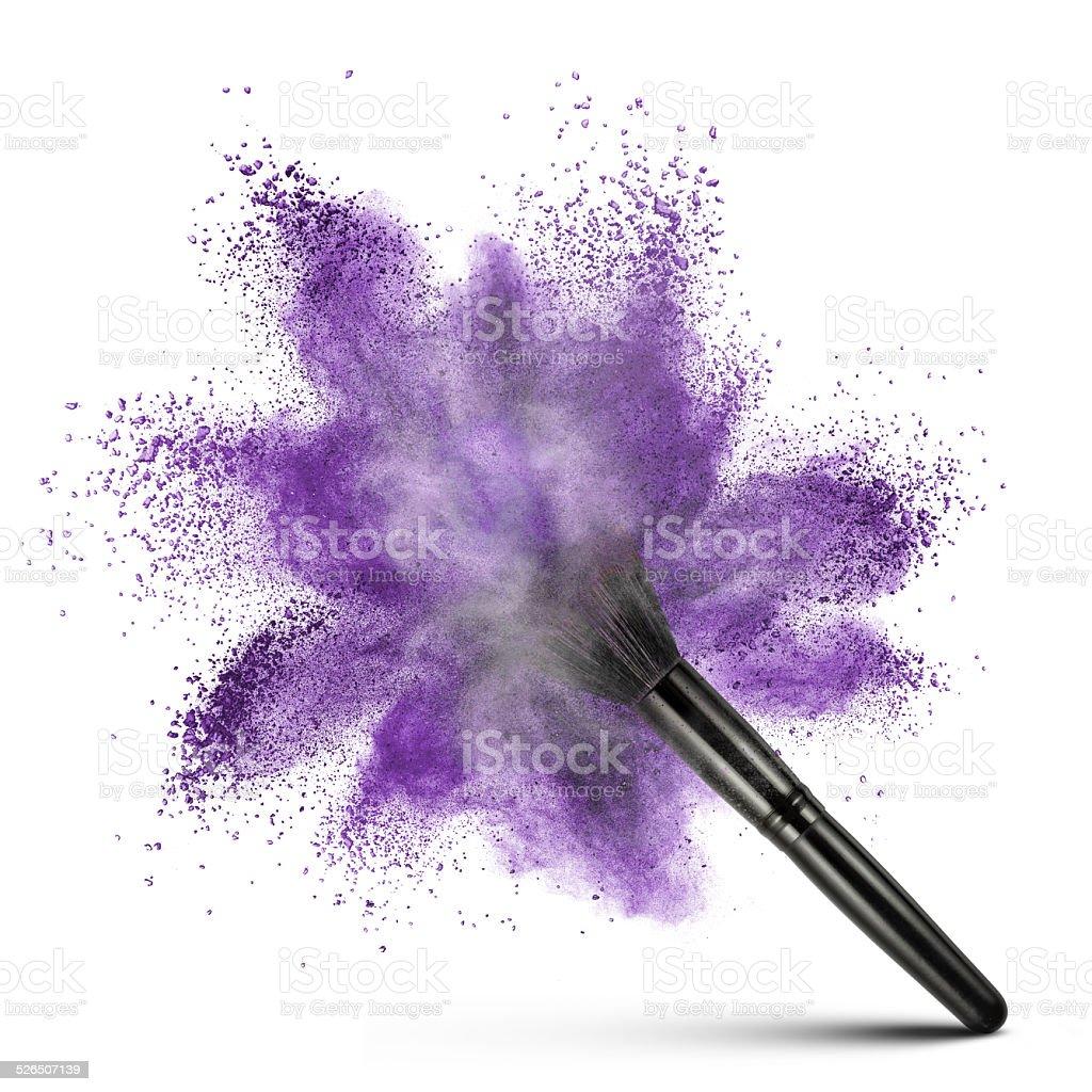 White powder explosion isolated on black stock photo