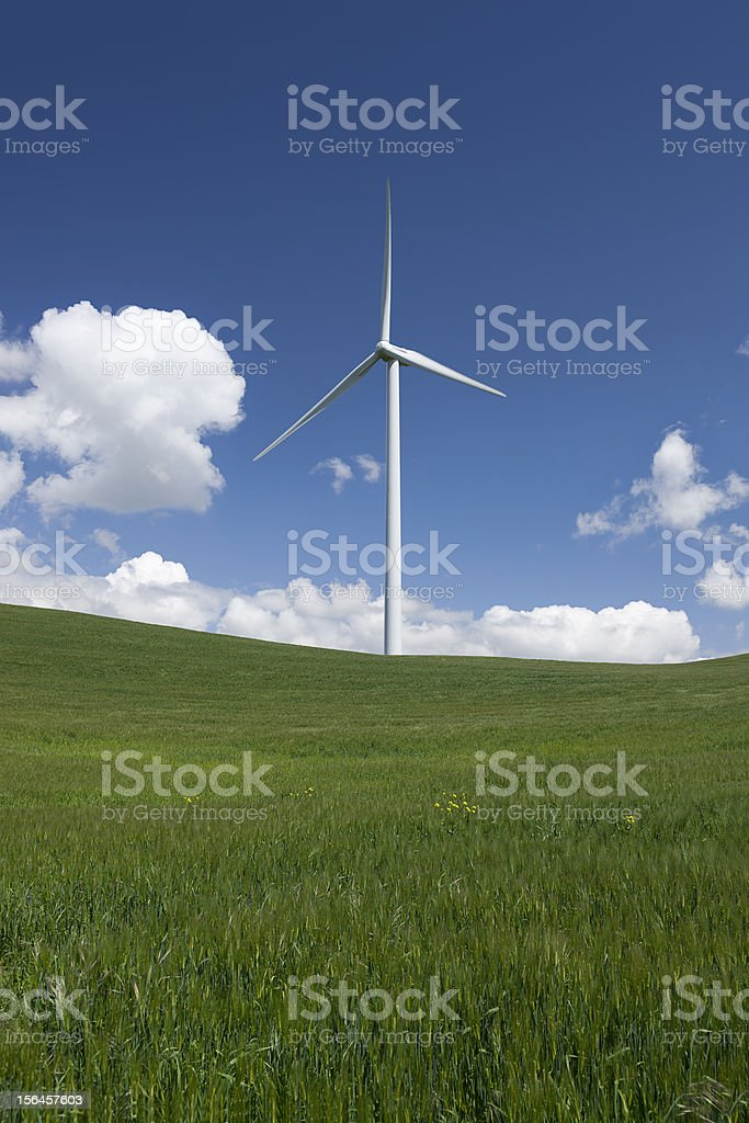 White Power Generating Wind Turbines royalty-free stock photo