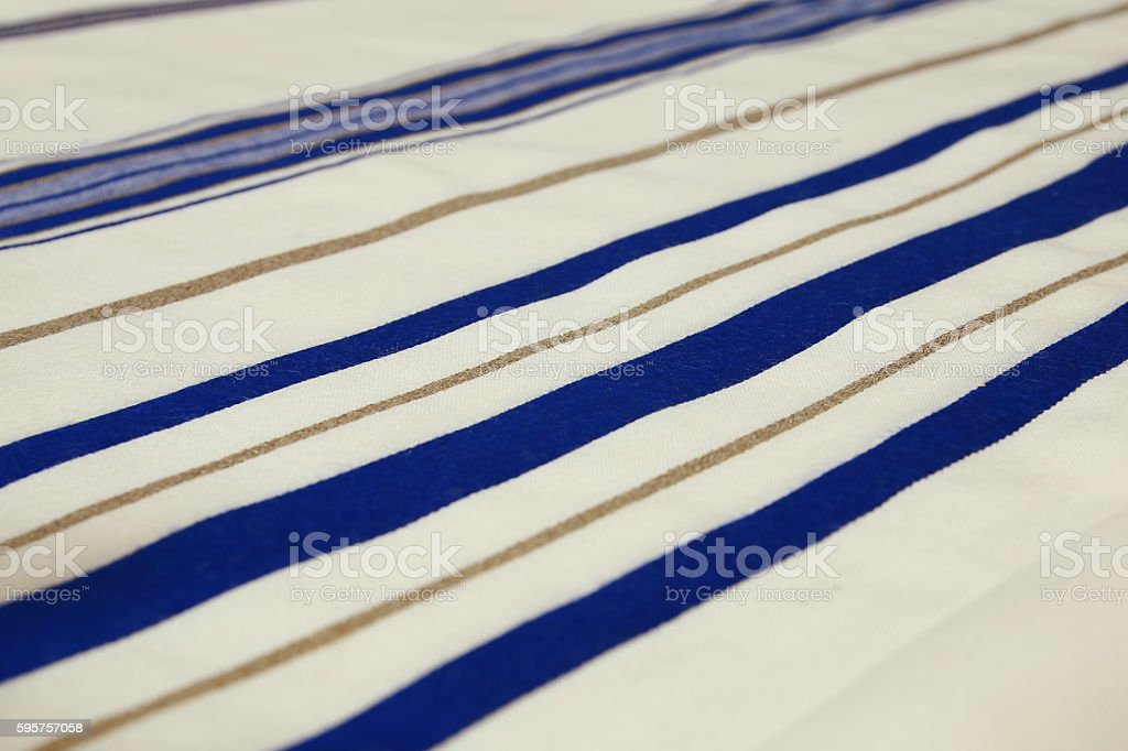 White Prayer Shawl - Tallit, jewish religious symbol stock photo