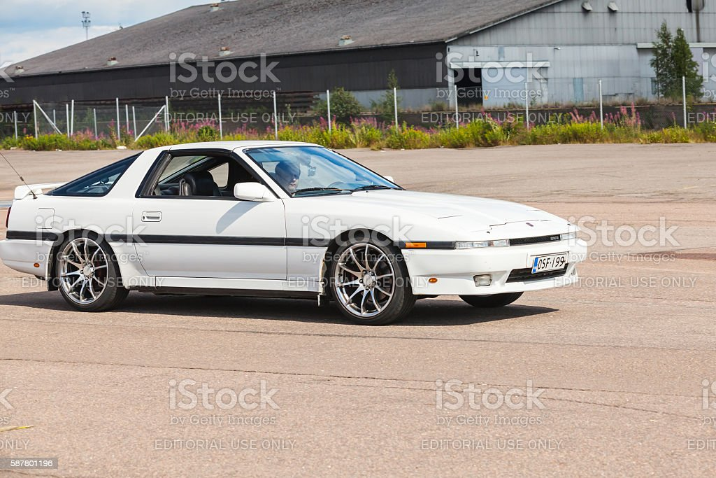 White pre-facelift Toyota Supra MA70 sport car stock photo