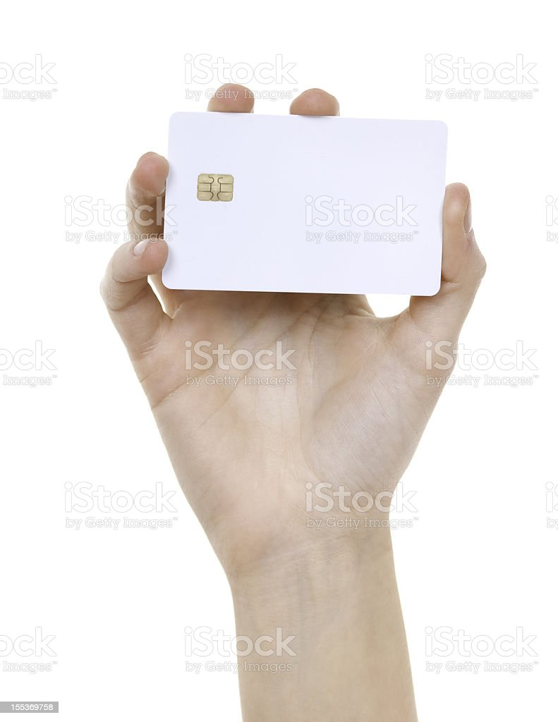 white prepaid card in woman hand stock photo