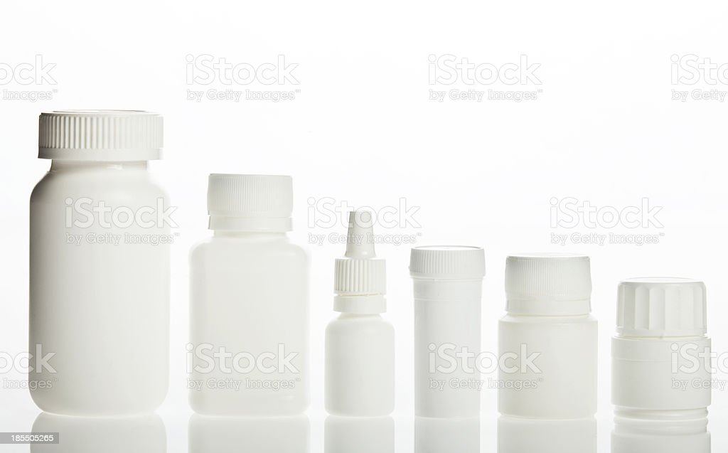 White prescription bottles royalty-free stock photo