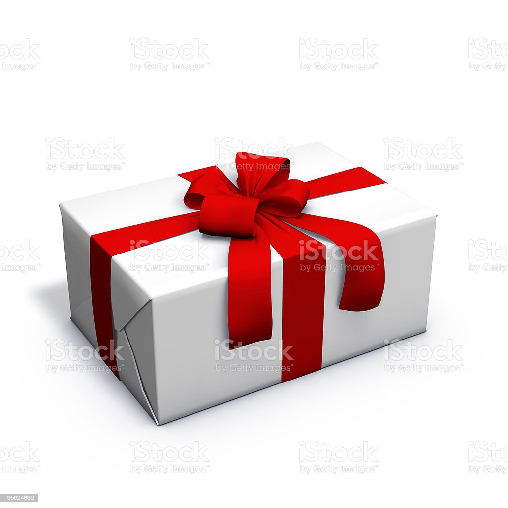 white present with red ribbon royalty-free stock photo