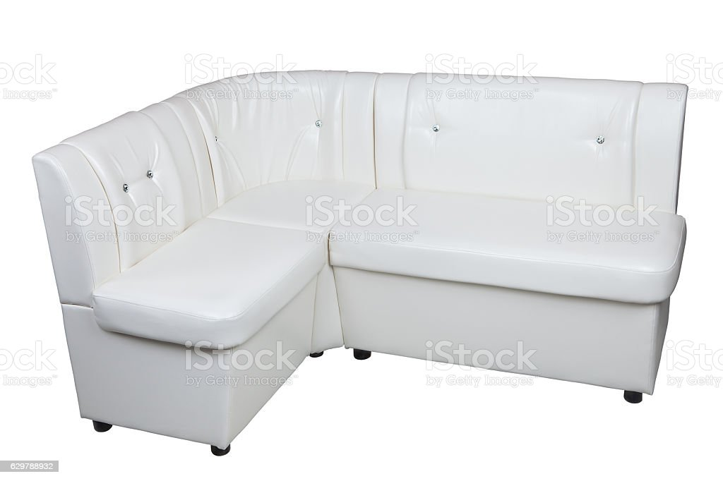 White pu leather modern corner sectional sofa for dining room. stock photo