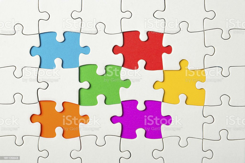 White Puzzle Frame on colorful Background royalty-free stock photo