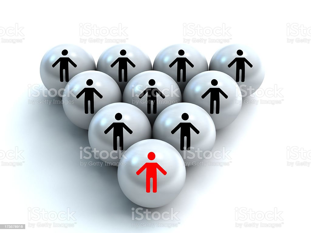 White pyramid of balls with nine black stickmen and one red royalty-free stock photo