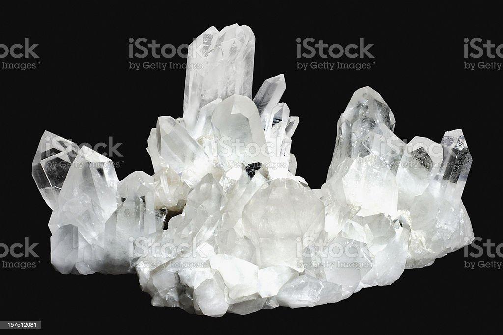 White quartz crystals on a black background  royalty-free stock photo