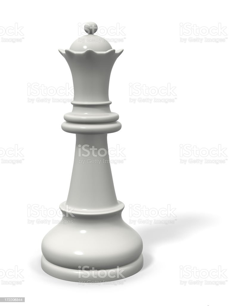 White queen chess piece on a white background stock photo
