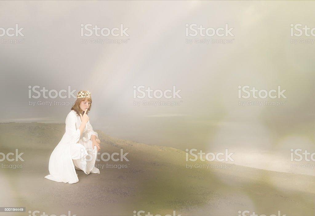 white queen in a scottish landscape stock photo