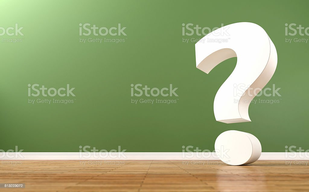 White question mark inside indoor space with green background stock photo