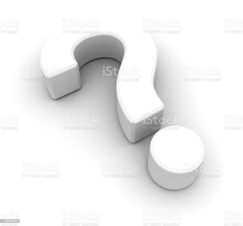White question mark symbol isolated on a white background stock photo