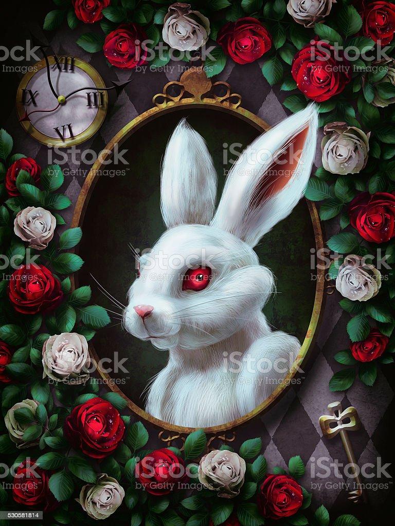 White rabbit from Alice in Wonderland stock photo