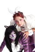 White Rabbit riding Cheshire Cat.