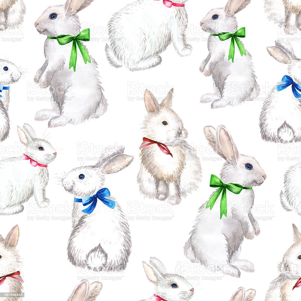 white rabbits background stock photo